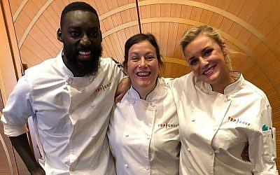 Sara Bradley, center, Kelsey Barnard Clark, and Eric Adjepong are Top Chef finalists. (Sara Bradley/Facebook, via JTA)