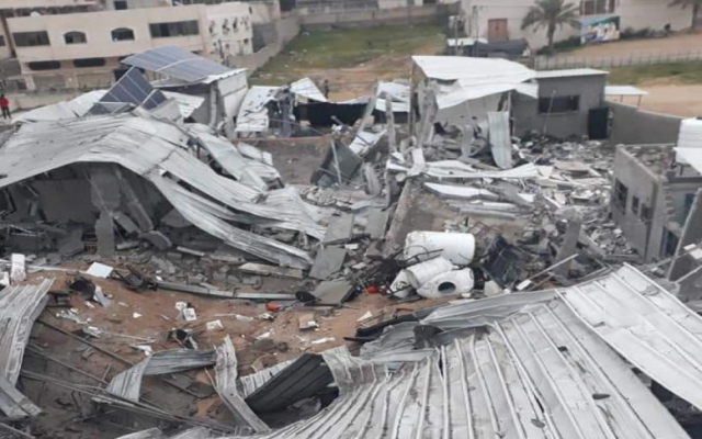 Hamas's West Bank headquarters compound in Gaza that was flattened during an Israeli air raid on March 15, 2018. (IDF)