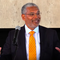 Pitzer College President Melvin Oliver addressed students and faculty on March 11, 2016. (screen capture: Pitzer College)
