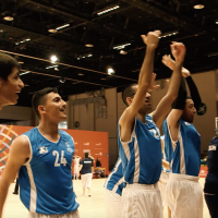 Israeli basketball players celebrate a victory over Canada at the Special Olympics in Abu Dhabi, United Arab Emirates, March 16, 2019. (David P. Alexander/Times of Israel)