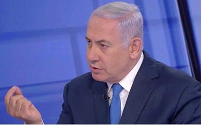 Prime Minister Benjamin Netanyahu is interviewed by Israeli's Channel 12 news at the network's studio on March 23, 2019. (Screen capture: Channel 12)