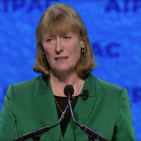 British MP Joan Ryan addresses AIPAC policy conference, March 24, 2019 (AIPAC screenshot)