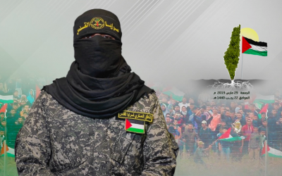 Abu Hamza, spokesman of the Iranian-backed Islamic Jihad terror group, addresses Palestinians and threatens Israel in a video message broadcast on March 29, 2019. (Screenshot: Al-Quds Brigades)