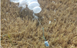 Illustrative. An incendiary device attached to balloons that  landed in the Eshkol region in Israel on March 28, 2019. (Eshkol Regional Council)