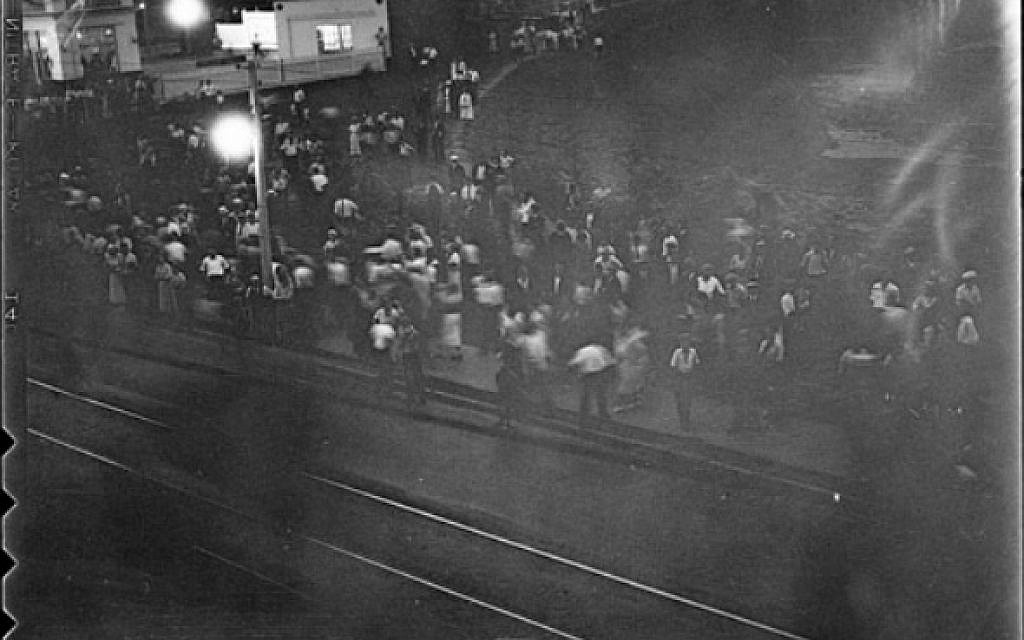 The only known photo of the Christie Pits riot in Toronto, Canada on August 16, 1933. (unknown Globe and Mail photographer [Public domain] via Wikimedia Commons)