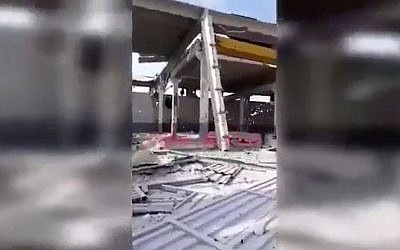 Video footage reportedly shows damage to a warehouse in Syria by an airstrike attributed to Israel. (Twitter screenshot)