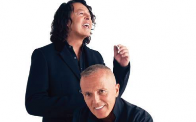 Tears for Fears' Roland Orzabal (standing) and Curt Smith will perform in Israel on July 23, 2019 (Courtesy Tears for Fears)