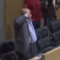 Jordanian lawmaker Khalil Atiyeh salutes a Palestinian terrorist during a parliament session in Amman, Jordan, on March 18, 2019. (Screenshot: Twitter)