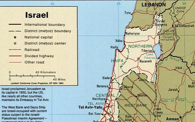 "An image of the CIA's map of Israel taken on March 28, 2019, that refers to the Golan Heights as ""Israeli occupied."" (Library of Congress)"