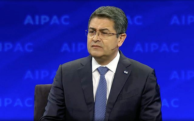 Honduras' President Juan Orlando Hernandez speaks at the AIPAC Policy Conference in Washington on March 24, 2019. (Screen capture/AIPAC)