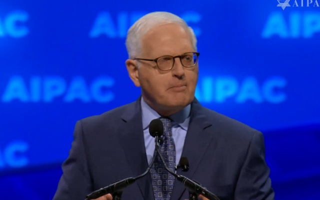 AIPAC CEO Howard Kohr addresses the Policy Conference in Washington on March 24, 2019. (Screen capture/AIPAC)