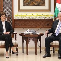 Meretz chairwoman Tamar Zandberg and Palestinian Authority President Mahmoud Abbas meeting in Ramallah, on March 10, 2019. (Elad Malka)