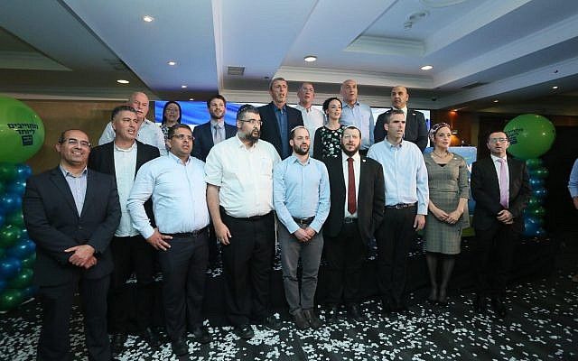Union of Right Wing Parties' candidates from the Jewish Home and National Union parties at the joint list's campaign launch event in the Jerusalem Gardens Hotel on March 11, 2019. (Miri Shmanovitz)