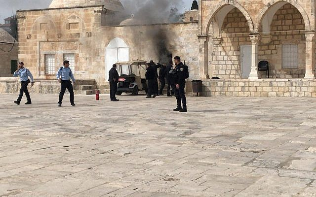 A fire rages in a police post on Jerusalem's Temple Mount after a Molotov cocktail was thrown at it on March 12, 2019. (Ir Amim)