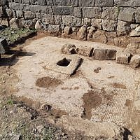 The site of an excavation at the Korazim National Park where a winepress and mosaic have been unearthed, March 2019. (Ahiya Cohen-Tavor/Israel Nature and Parks Authority)