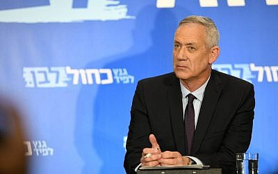 Blue and White chief Benny Gantz during a campaign event on March 18, 2019. (Courtesy: Blue and White)