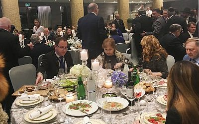 The Euro-Asian Jewish Congress gala dinner at the Dan Arcadia Hotel in Herzliya, March 18, 2019. (The Times of Israel)