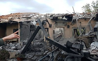 A home in the central Israeli town of Mishmeret, which was destroyed in a rocket attack from the Gaza Strip on March 25, 2019. (courtesy)