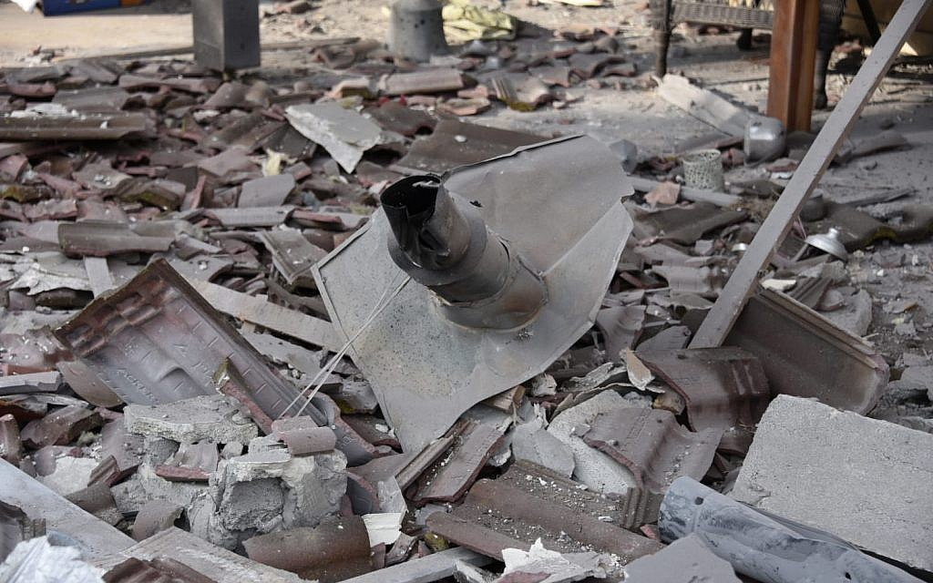 A rocket from the Gaza Strip that struck a home in the central Israeli town of Mishmeret on March 25, 2019. (Israel Police)
