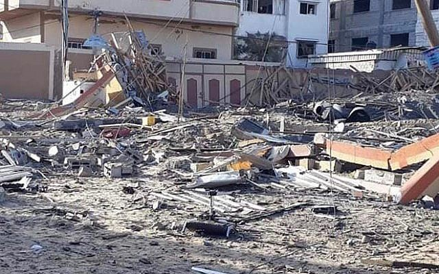 The wreckage of what was once a building housing the offices of Hamas chairmain Ismail Haniyeh in Gaza City on March 26, 2019, the morning after it was destroyed by Israeli strikes in response to a rocket from the Palestinian enclave that hit a house and wounded seven Israelis. (Israel Defense Forces)