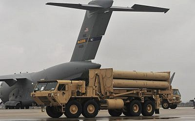 The US army unloads a THAAD missile defense system in Israel, March 2019. (US Army Europe)