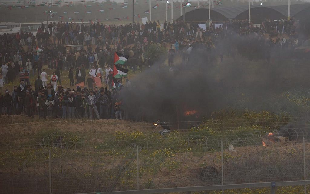 Palestinians riot along the Gaza border during Land Day demonstrations on March 30, 2019. (IDF)