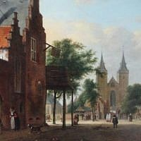 'View of a Dutch Square' by the 17th-century Dutch artist Jan van der Heyden. (Courtesy Commission for Looted Art in Europe)