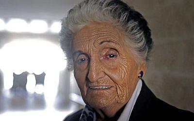 Berthe Badehi, 87, French-Israeli Holocaust survivor, at the Yad Vashem Holocaust Memorial museum in Jerusalem, February 24, 2019. (Menahem Kahana/AFP)