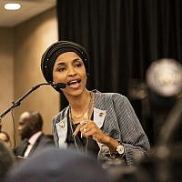Ilhan Omar speaks at an election night results party in Minneapolis, Minnesota, November 6, 2018. (Stephen Maturen/Getty Images)