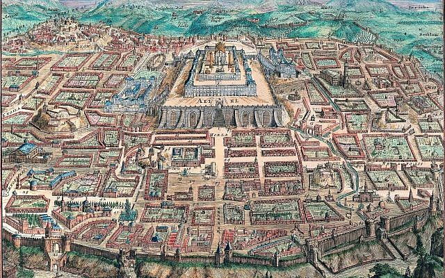 """A map of Jerusalem from the years 1670-1700 by Romeyn de Hooghe, part of the """"Maps of the Holy Land and Jerusalem"""" exhibit, part of Google's Once Upon a Try international online exhibition project. (Courtesy National Library of Israel)"""