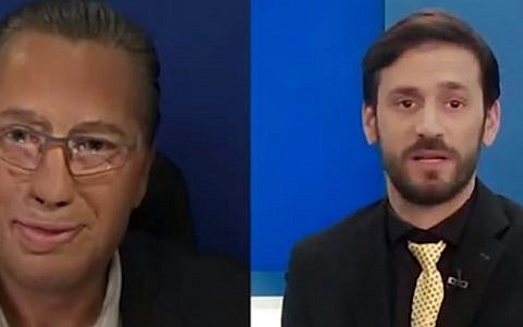 Likud TV propaganda channel segment mocks appearance of journalist Amnon Abramovitch, who was wounded during the 1973 Yom Kippur War, March 22, 2019. At left, an actor made up to look like Abramovitch; at right, Likud TV presenter Eliraz Sadeh (Screen grab)