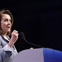 Speaker of the House Nancy Pelosi speaks during the AIPAC annual meeting in Washington, DC, March 26, 2019.  (Jim Watson/AFP)