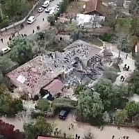 Screen capture from video of a home in the central community of Mishmeret which was hit by a rocket fired from the Gaza Strip, March 25, 2019. (Ynet)