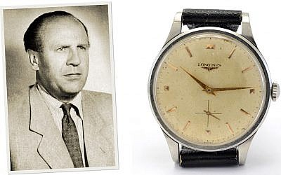 A picture of Oskar Schindler (L) and his wristwatch, which were sold at an auction in March 2019. (RR Auction)