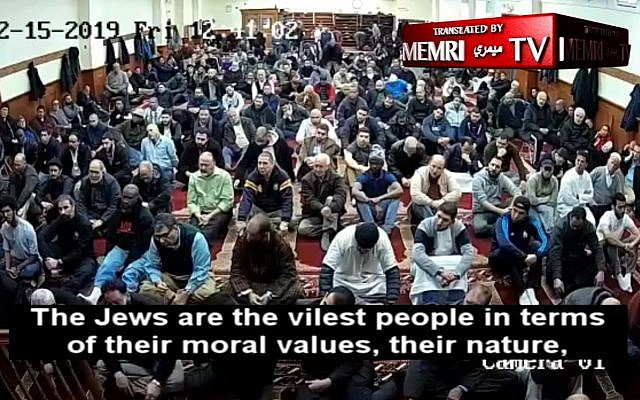 A screenshot from a sermon translated and transcribed by MEMRI of Abdelmohsen Abouhatab, a Philadelphia-based imam, making anti-Semitic statements.