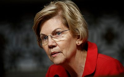 """Senate Armed Services Committee member, Sen. Elizabeth Warren, D-Mass., pauses during a Senate Armed Services Committee hearing on """"Nuclear Policy and Posture"""" on Capitol Hill in Washington, February 28, 2019. (AP Photo/Carolyn Kaster)"""