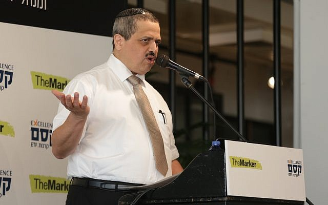 Former Israel Police chief Roni Alsheich speaks to investors at an event in Tel Aviv on April 3, 2019 (Dor Nevo)