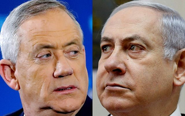 This combination of pictures created on April 2, 2019, shows a photo from April 1, 2019, of Benny Gantz (L), head of the Blue and White party, and a photo from March 10, 2019, of Prime Minister Benjamin Netanyahu attending the weekly cabinet meeting at his Jerusalem office. (Jack Guez and Gali Tibbon/AFP)