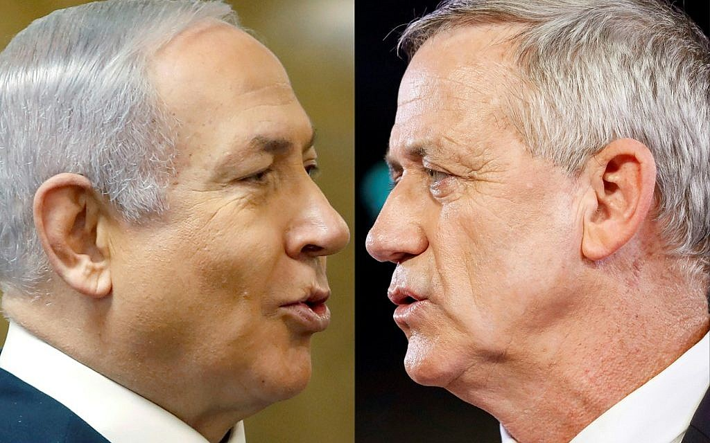 This combination of pictures created on April 2, 2019 shows (L) Prime Minister Benjamin Netanyahu and Blue and White party leader Benny Gantz. (Ronen Zvulun and Jack Guez/AFP)