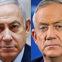 Prime Minister Benjamin Netanyahu (left) and Blue and White leader Benny Gantz. (Oded Balilty and Jack Guez/AFP)