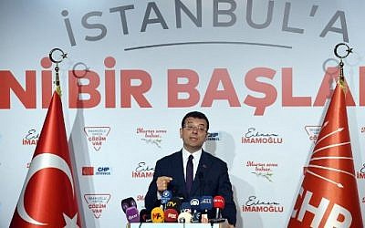 Turkey's main opposition party CHP candidate Ekrem Imamoglu, who claimed victory as Istanbul mayor, speaks during a press conference in Istanbul on April 3, 2019. (OZAN KOSE / AFP)