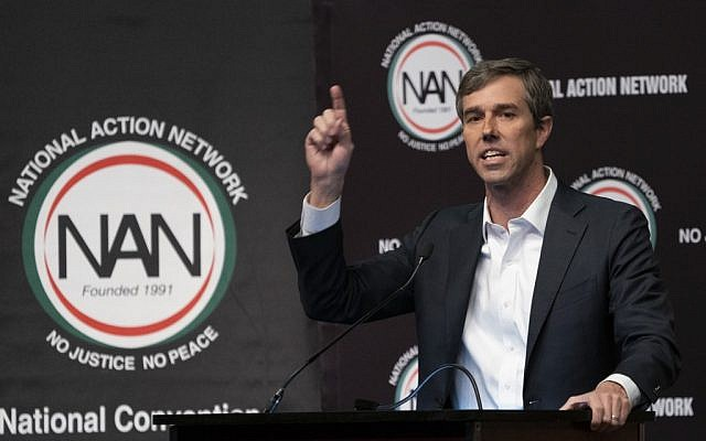 Presidential candidate Beto O'Rourke(D-TX) speaks during a gathering of the National Action Network on April 3, 2019 in New York. (Don Emmert / AFP)