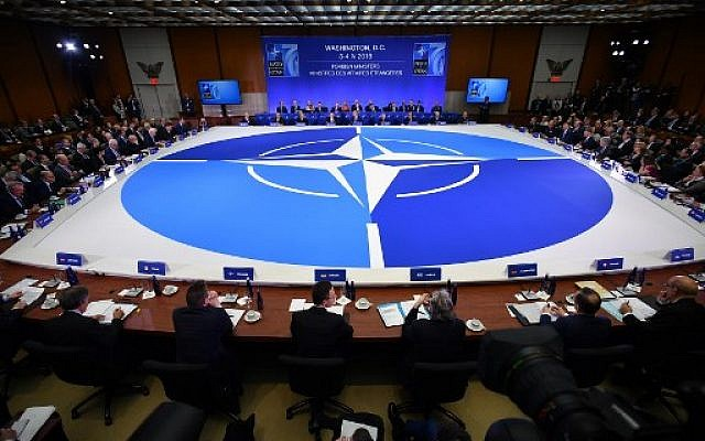 NATO foreign ministers meeting in Washington, DC on April 4, 2019. (MANDEL NGAN / AFP)