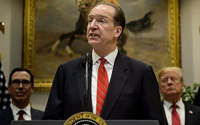 In this file photo taken on February 6, 2019, David Malpass speaks after US President Donald Trump announced his candidacy to lead the World Bank during an event in the Roosevelt Room of the White House in Washington, DC (Brendan Smialowski / AFP)