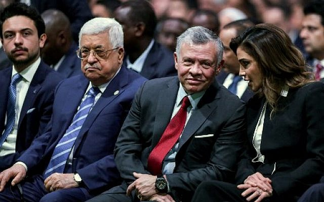 (R to L) Queen Rania of Jordan, King Abdullah II of Jordan, Palestinian Authority President Mahmoud Abbas, and Jordan's Crown Prince Hussein applaud as they attend the opening ceremony of the 2019 World Economic Forum on the Middle East and North Africa, at the King Hussein Convention Centre at the Dead Sea, in Jordan on April 6, 2019. (Photo by Khalil MAZRAAWI / AFP)