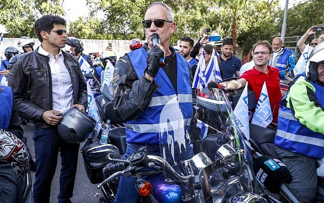 Retired IDF general Benny Gantz, one of the leaders of the Blue and White party leaders, makes a campaign appearance in Tel Aviv on April 7, 2019. (JACK GUEZ / AFP)