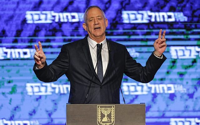 Benny Gantz, leader of the Blue and White party, claims victory following elections for the Knesset on April 9, 2019's elections, in a speech in Tel Aviv (Menahem Kahana/AFP)