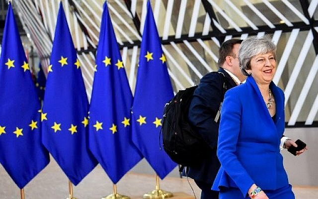 Britain's Prime Minister Theresa May arrives ahead of a European Council meeting on Brexit at The Europa Building at The European Parliament in Brussels on April 10, 2019. (Photo by PHILIPPE HUGUEN / AFP)