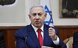 Prime Minister Benjamin Netanyahu speaks during the weekly cabinet meeting in Jerusalem on April 14, 2019. (RONEN ZVULUN / AFP)