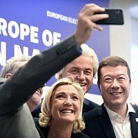 Gerolf Annemans, Belgian MEP; Marine Le Pen, head of French far-right National Front party; Dutch politician Geert Wilders of the PVV party; and Tomio Okamura, leader of Czech Freedom and Direct Democracy party take a selfie after their press conference during a conference of the right-wing Europe of Nations and Freedom (ENF) group in the European Parliament on April 25 , 2019, in Prague. (AFP/Michal Cizek)